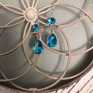 Blue Topaz and Sterling Faceted Dangle Earrings